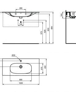 Мебелна мивка бял мат IDEAL STANDARD TESI T3508V1 103см.