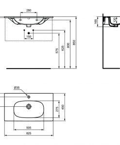 Мебелна мивка бял мат IDEAL STANDARD TESI T3509V1 83см.