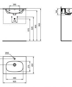 Мебелна мивка бял мат IDEAL STANDARD TESI T3510V1 63см.