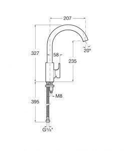 Смесител за кухненска мивка с въртящ се чучур ROCA L90 A5A8301C00