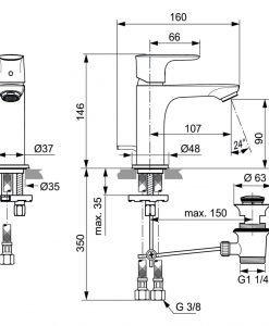 Смесител за мивка IDEAL STANDARD CONNECT AIR A7007A2