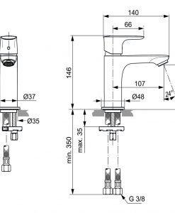 Смесител за мивка IDEAL STANDARD CONNECT AIR A7010A2