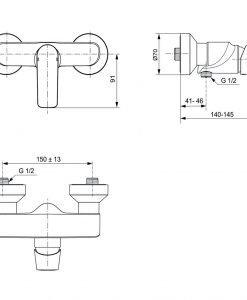 Стенен смесител за душ CONNECT AIR A7032A2