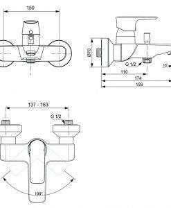 Стенен смесител за вана/душ CONNECT AIR A7033A2
