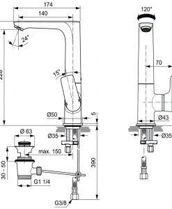 Висок смесител за мивка IDEAL STANDARD CONNECT AIR A7020A2