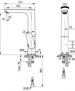 Висок смесител за мивка IDEAL STANDARD CONNECT AIR A7023A2