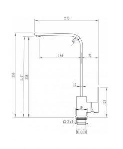 Кухненски смесител в черен цвят Мелания ICF 7107018B