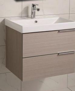 PVC шкаф за баня с бял порцеланов умивалник 5935 дървесен цвят