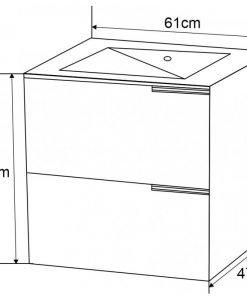 PVC шкаф за баня с черен порцеланов умивалник 5953B