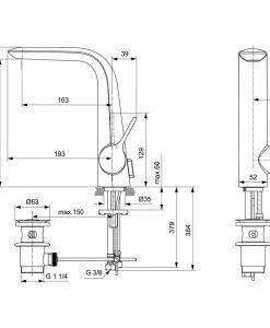 Стоящ смесител за мивка IDEAL STANDARD MELANGE A6041