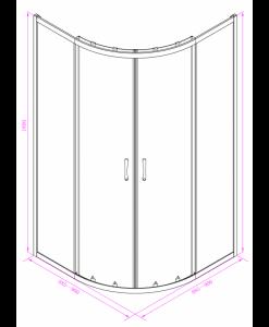 Душ кабина овал регулируема 285GS/90 NEW тоирано стъкло 88.5-90*180
