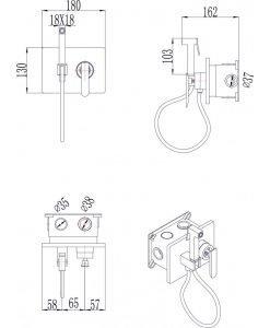 Месингов смесител за вграждане с хигиенен душ БЛЕЙК ICF 3315B черен мат