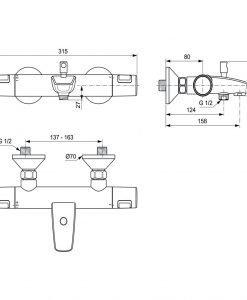 Термостатен смесител за вана/душ CERATHERM T25 A7206