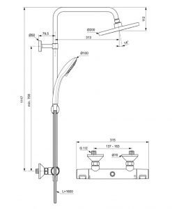 Термостатна душ система IDEAL STANDARD CERATHERM T25 A7208