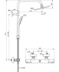 Термостатна душ система IDEAL STANDARD CERATHERM T50 A7225