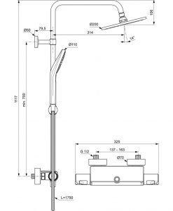 Термостатна душ система IDEAL STANDARD CERATHERM T50 A7230