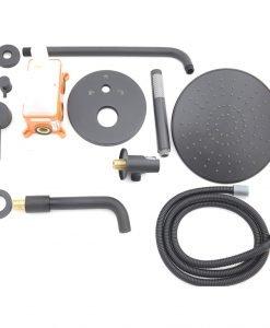 Черна душ система за вграждане с чучур BLANDINI CONCORD