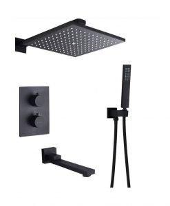 Черна душ система за вграждане с термостат и чучур BLANDINI CRYSTAL S