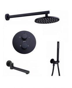 Черна душ система за вграждане с термостат и чучур BLANDINI ZENTA S