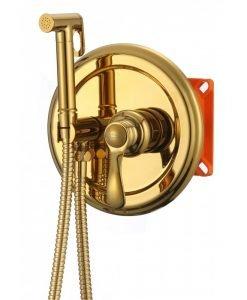 Месингов смесител за вграждане с хигиенен душ 3315G злато