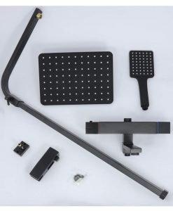 Термостатна душ система в черно с чучур PRISMA BLACK