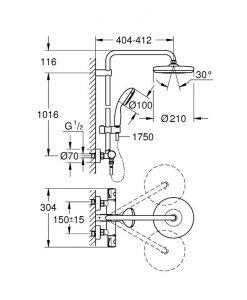 Душ система с термостат GROHE Bauclassic 210 26699000