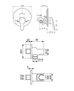 ALPHA вграден смесител за душ и хигиеничен душ BD125AA
