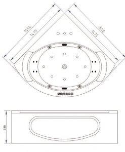 Хидромасажна ъглова вана за вътрешно пространство LB1568 155*155