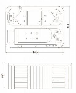 Хидромасажна вана за открито пространство SPA 913 GREY 195*138