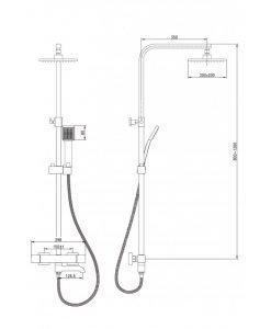 Термостатна душ система ЛОРАН 6401B черен мат