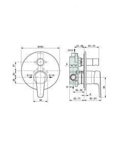TYRIA вграден смесител за вана/душ A6934AA