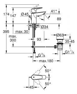 Grohe Bau Edge смесител за мивка S 23328001