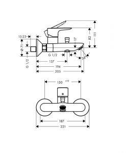 HANSGROHE черен смесител за вана/душ TALIS E 71740670