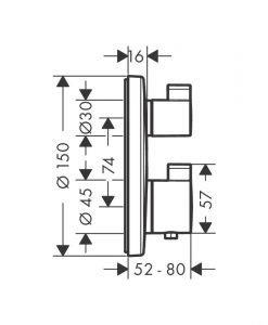 HANSGROHE ECOSTAT S Термостатен смесител с две функции за вграждане 15758000