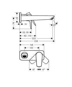 HANSGROHE Смесител за вграждане за мивка черен мат TALIS E 71734670