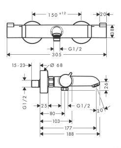 HANSGROHE Термо смесител за вана/душ ECOSTAT COMFORT 13114670 и тръбно окачване UNICA 65 28632670