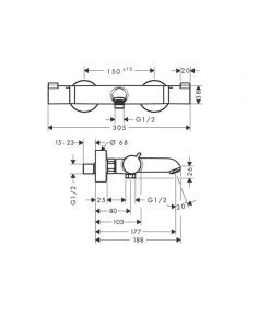 HANSGROHE термостатен смесител за вана и душ модел ECOSTAT COMFORT 13114670