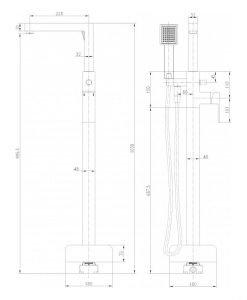 Месингов смесител за вана в черен мат с подово захранване ICL 8215B