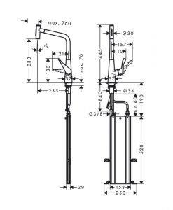 METRIS Select M71 Кухненски смесител с издърпващ се чучур 73816000