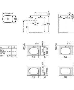 Порцеланов умивалник за вграждане в плот Inspira SOFT A327504000