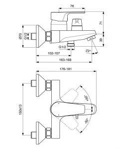 Смесител за вана/душ IDEAL STANDARD CERAFINE D BC494