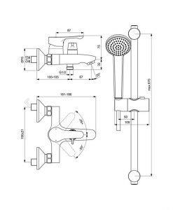 Смесител за вана/душ с аксесоари IDEAL STANDARD ALPHA BC656AA