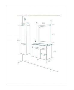 Мебели за баня ARVIPO WAVE 80