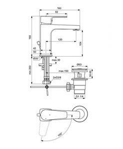 Смесител за мивка с изпразнител ESLA BC225AA