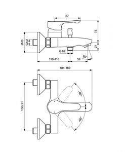 Смесител за вана/душ Ideal Standatd Alpha BC654AA
