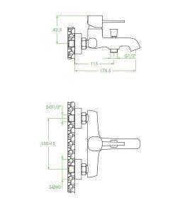 Смесител за вана/душ LAVEO без аксесоари модел POLA BAP_810D розово злато