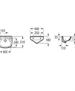 Компактен порцеланов умивалник за стенен монтаж ROCA IBIS A320841001