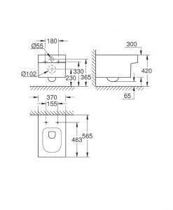 Конзолна тоалетна без ринг с квадратна форма Grohe Cube Ceramic 3924500H + 39488000