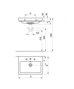 Порцеланов умивалник за стенен монтаж или мебел A3270J1000 ROCA CASERTA 60