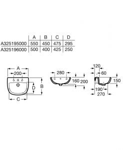 Стенен порцеланов умивалник ROCA ADELE A325195000